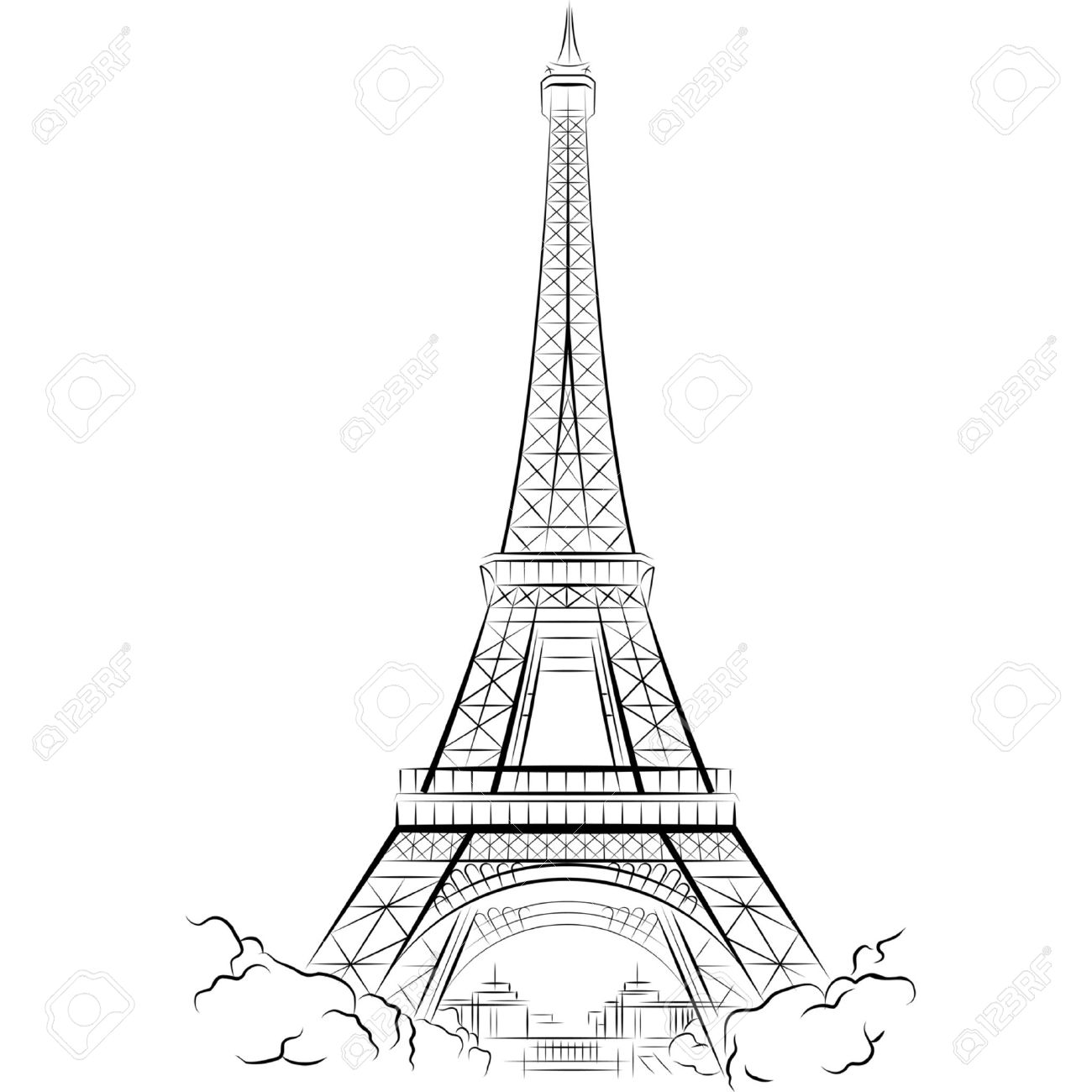 1300x1300 Drawing Eiffel Tower In Paris, France. Vector Illustration Royalty