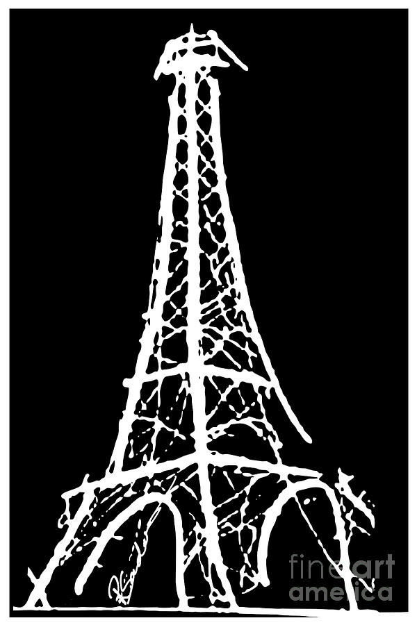 600x900 Eiffel Tower Paris France White On Black Painting By Robyn Saunders
