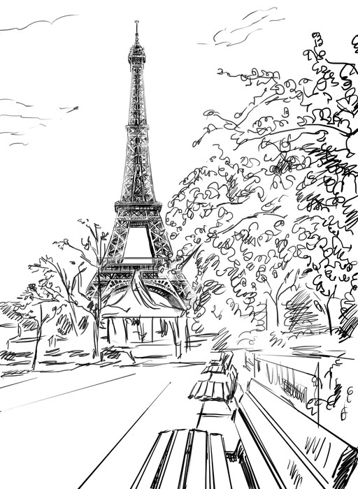 512x700 Street In Paris. Eiffel Tower Sketch Illustration Wall Mural