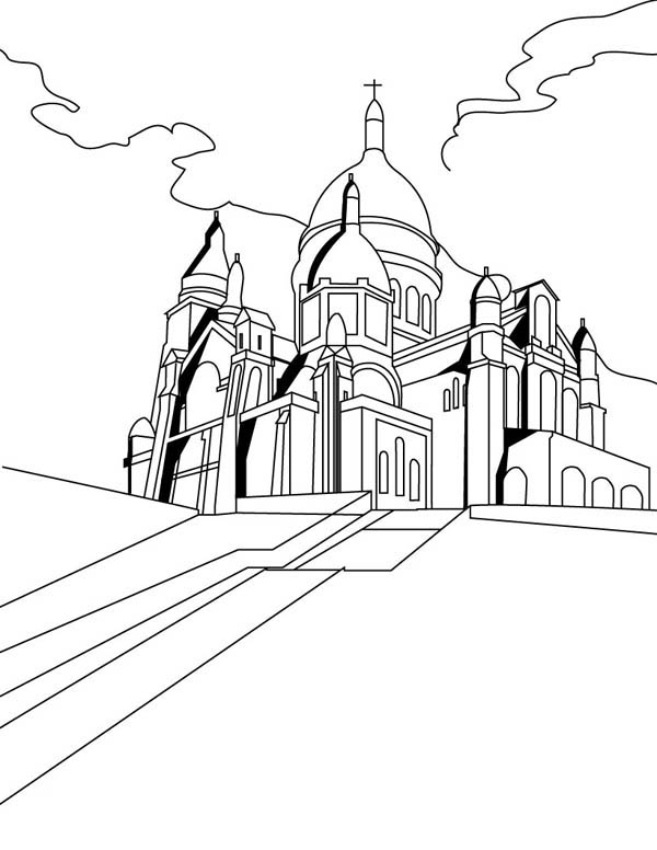 600x776 The Basilica Of The Sacred Heart Of Paris In Middle Ages Coloring