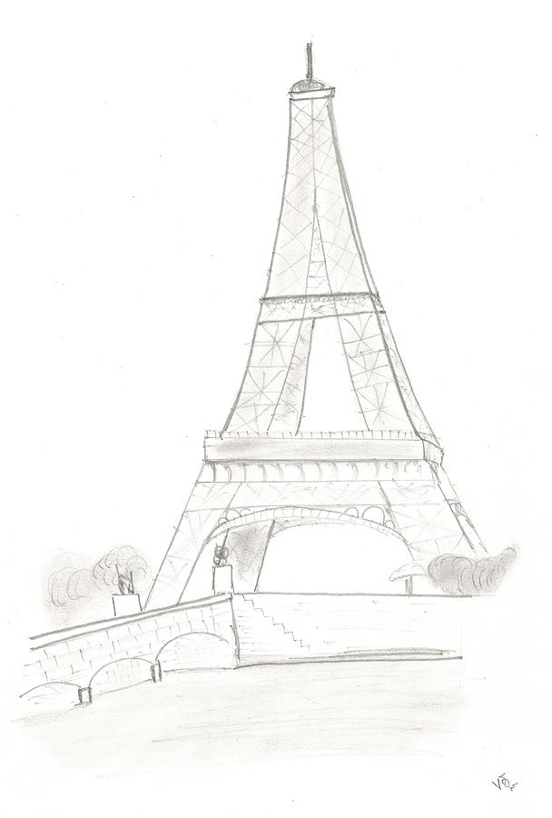 608x900 With Paris Drawing by Mutt Vishwa