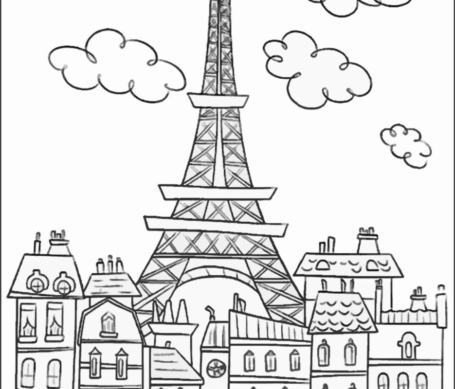 935x800 Eiffel Tower Coloring Page New Picture Pages For Kids Printable