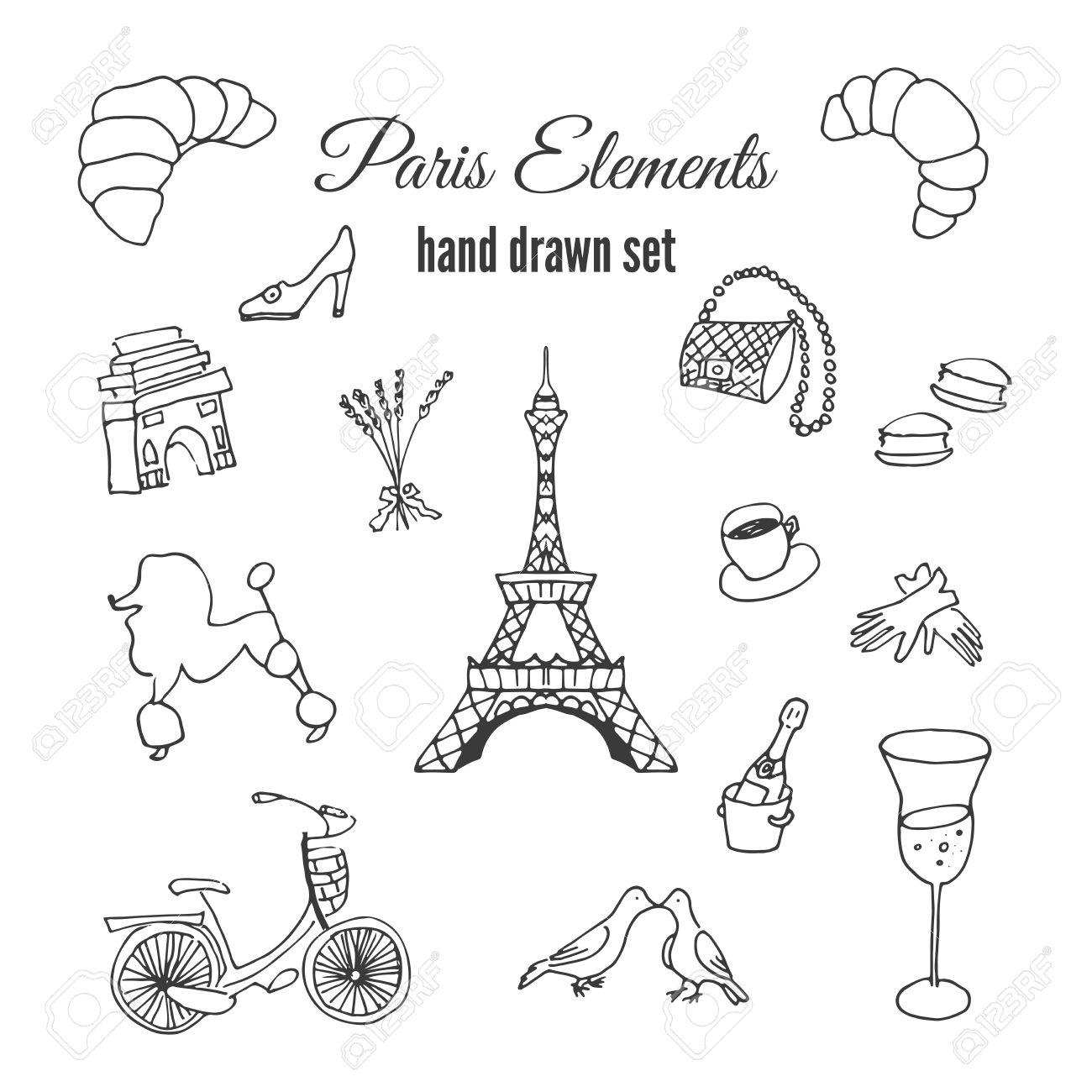 1300x1300 Paris Illustrations. Hand Drawn France Elements. Doodle Elements
