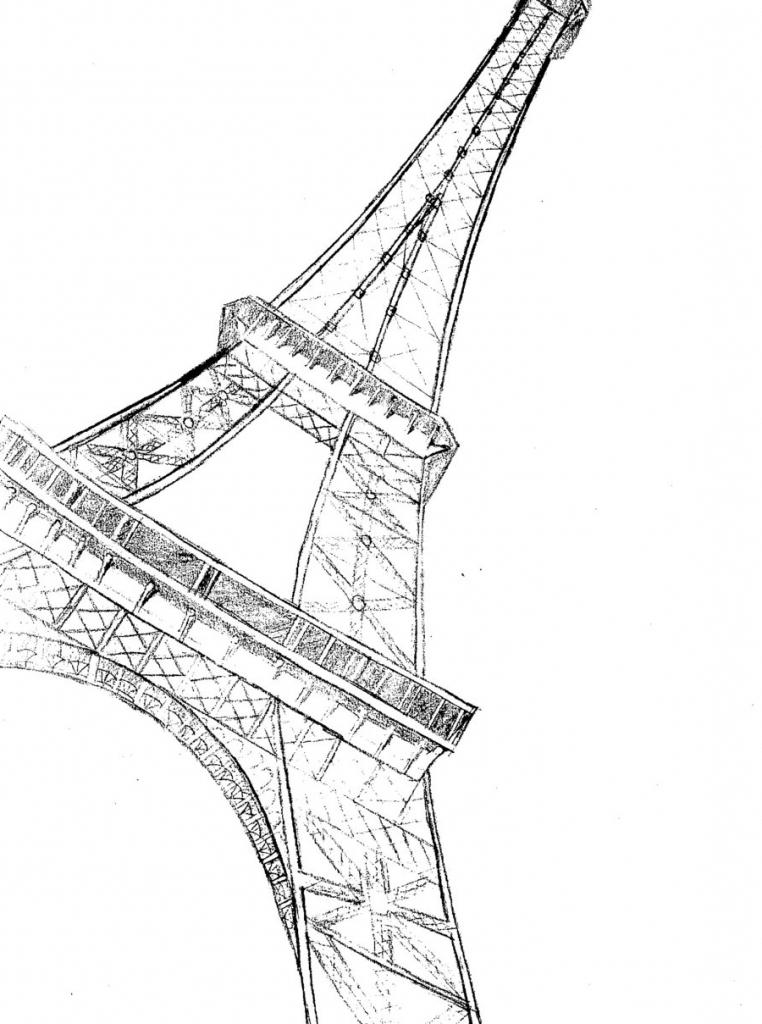 762x1024 Simple Eiffel Tower Drawing