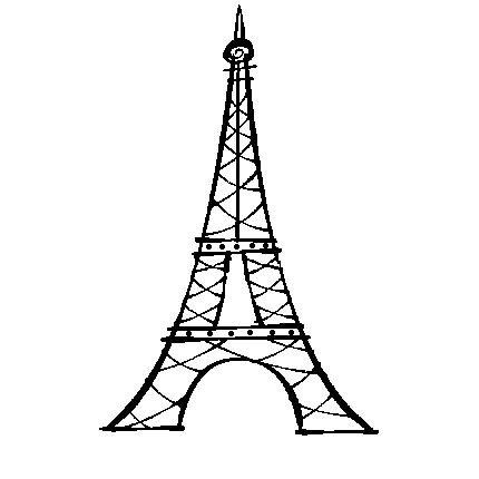 430x430 Eiffel Tower Paris Sketch Vector Outline Stock Vector 93217746