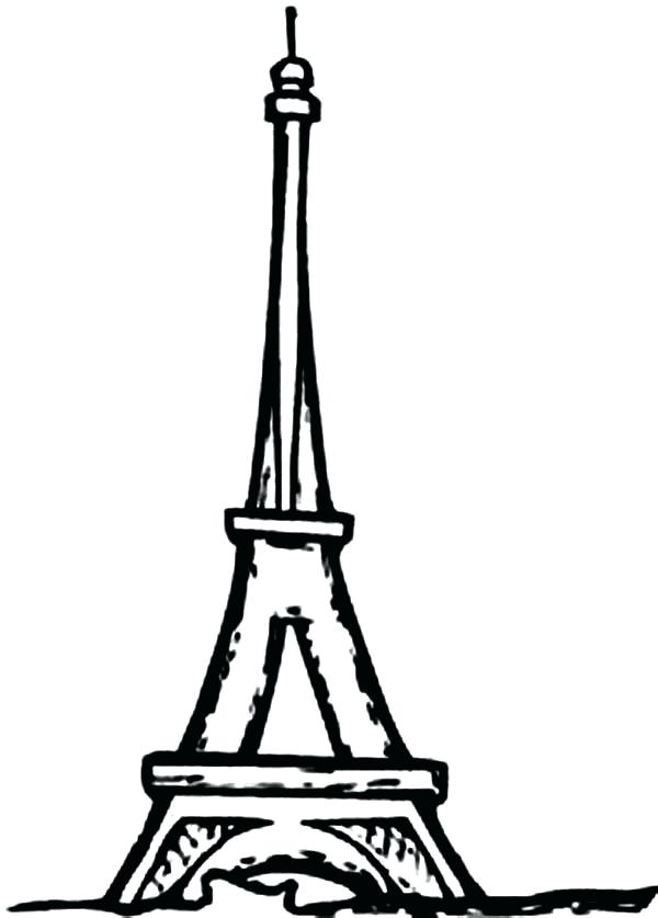 600x837 Coloring Pages Of The Eiffel Tower Tower Easy Drawing Coloring