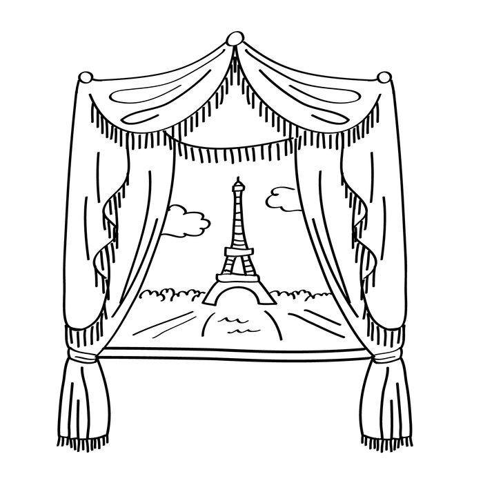 700x700 Dana Decals Paris Window And Eiffel Tower Doodle Scene Small Wall