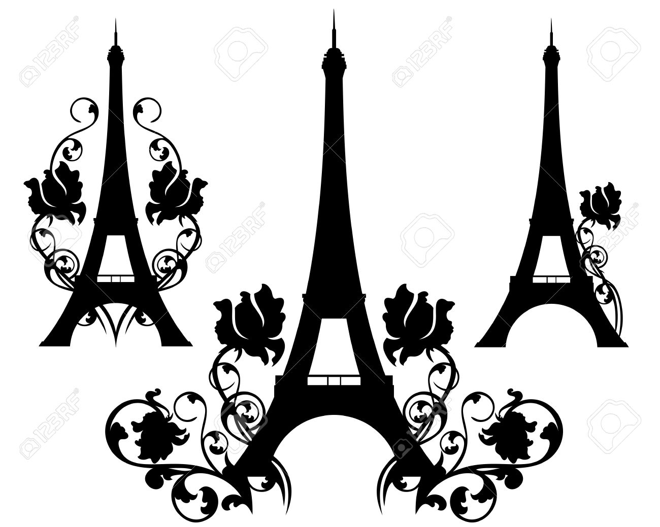 1300x1039 Eiffel Tower Silhouette Design Set