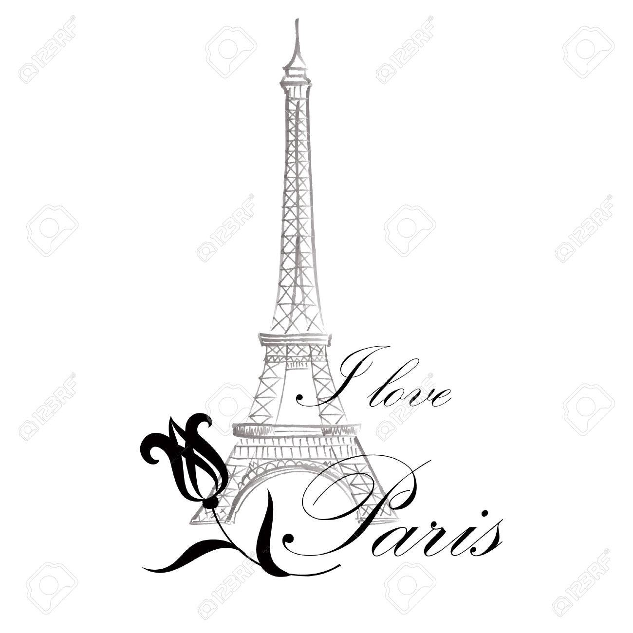 1300x1300 Floral Paris Illustration Famous Paris Landmark Eiffil Tower
