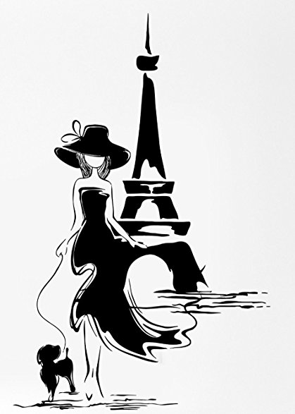 419x587 Paris France Eiffel Tower Sexy Girl With Dog Rubber