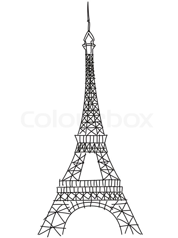 600x800 Isolated Doodle Eiffel Tower Drawing On White Background Stock