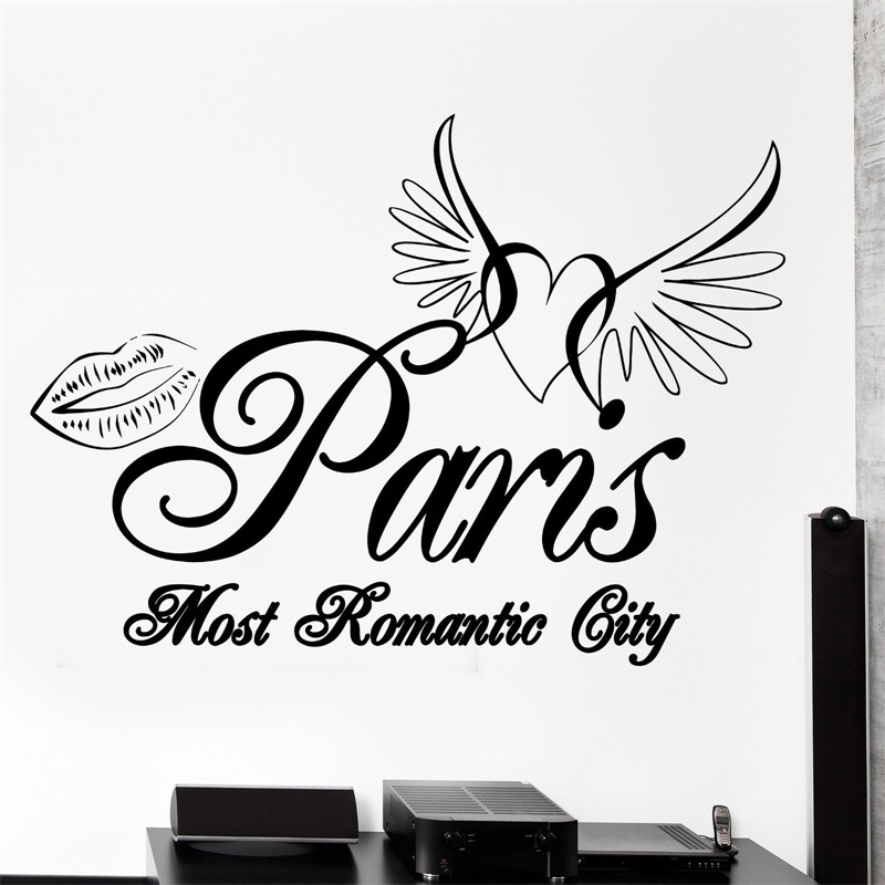 800x800 Wall Decal Paris France Eiffel Tower Heart Wings Romantic Vinyl