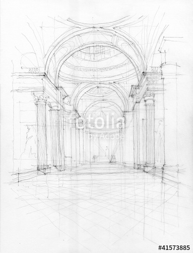 383x500 Crayon Drawing Of Pantheon Interior View, Paris, France Stock