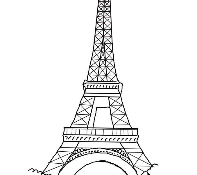 678x600 Printable Eiffel Tower Kids Coloring