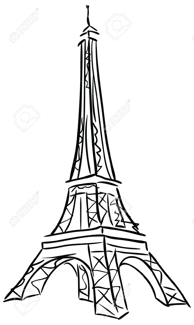 778x1300 Vector Illustration Of Tower Eiffel. Black And White Drawing
