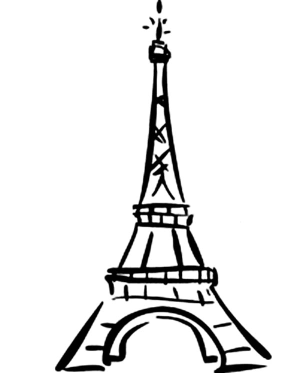 600x746 World Destination Eiffel Tower Coloring Page