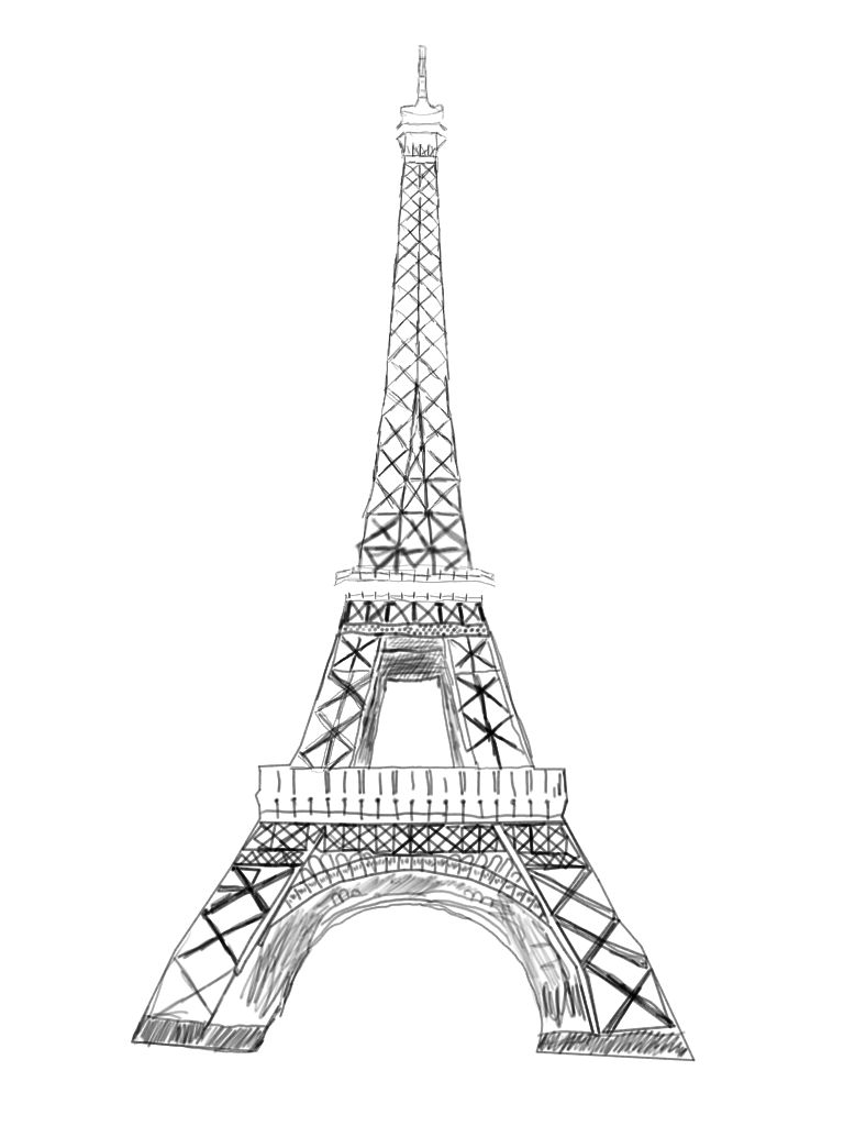 768x1024 Pin Drawn Eiffel Tower 3. Realistic Eiffel Tower Drawing By