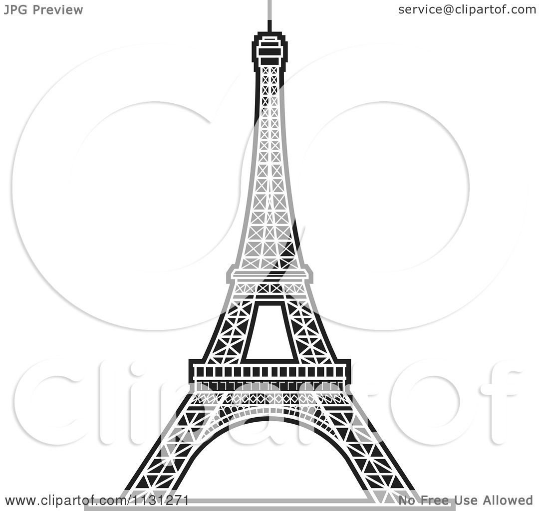 1080x1024 Clipart Of A Black And White Eiffel Tower 2