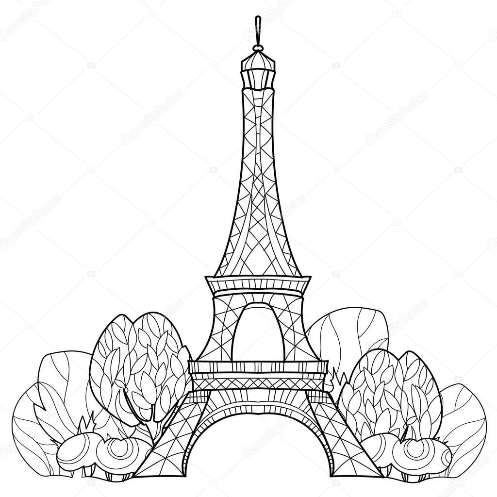 1024x1024 Doodle Eiffel Tower. Hand Drawn Vector Sketch. Stock Vector