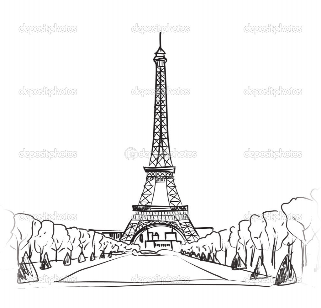1024x982 Drawing Of Eiffel Tower