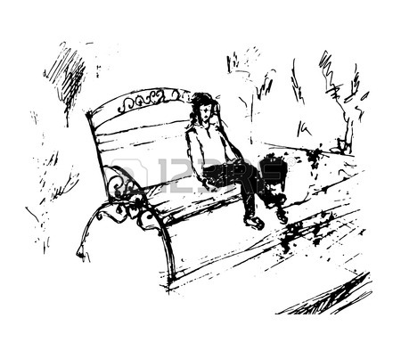 450x394 Boy Sitting On Bench Thinking Royalty Free Cliparts, Vectors,