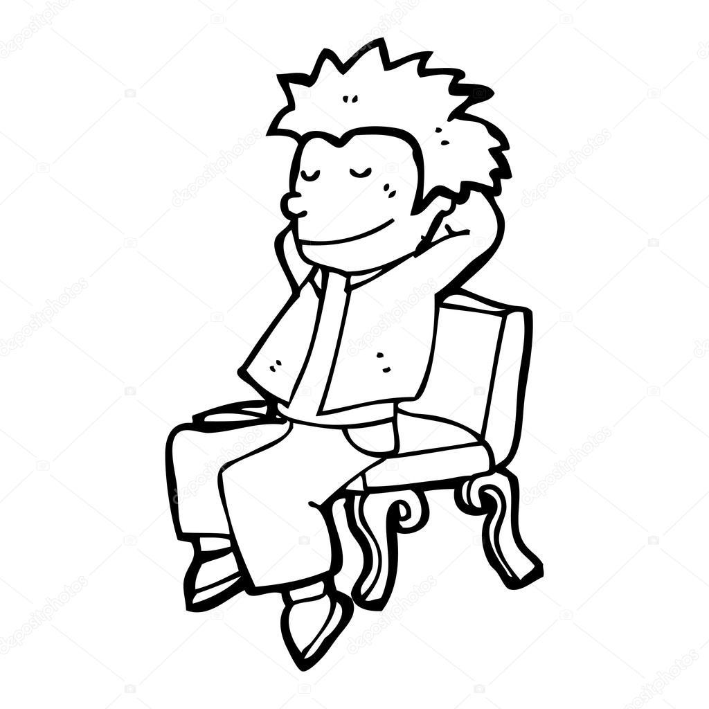 1024x1024 Boy Relaxing On Park Bench Cartoon Stock Vector