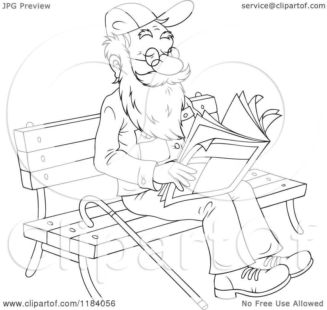1080x1024 Cartoon Of Happy Outlined Senior Man Reading The Newspaper On
