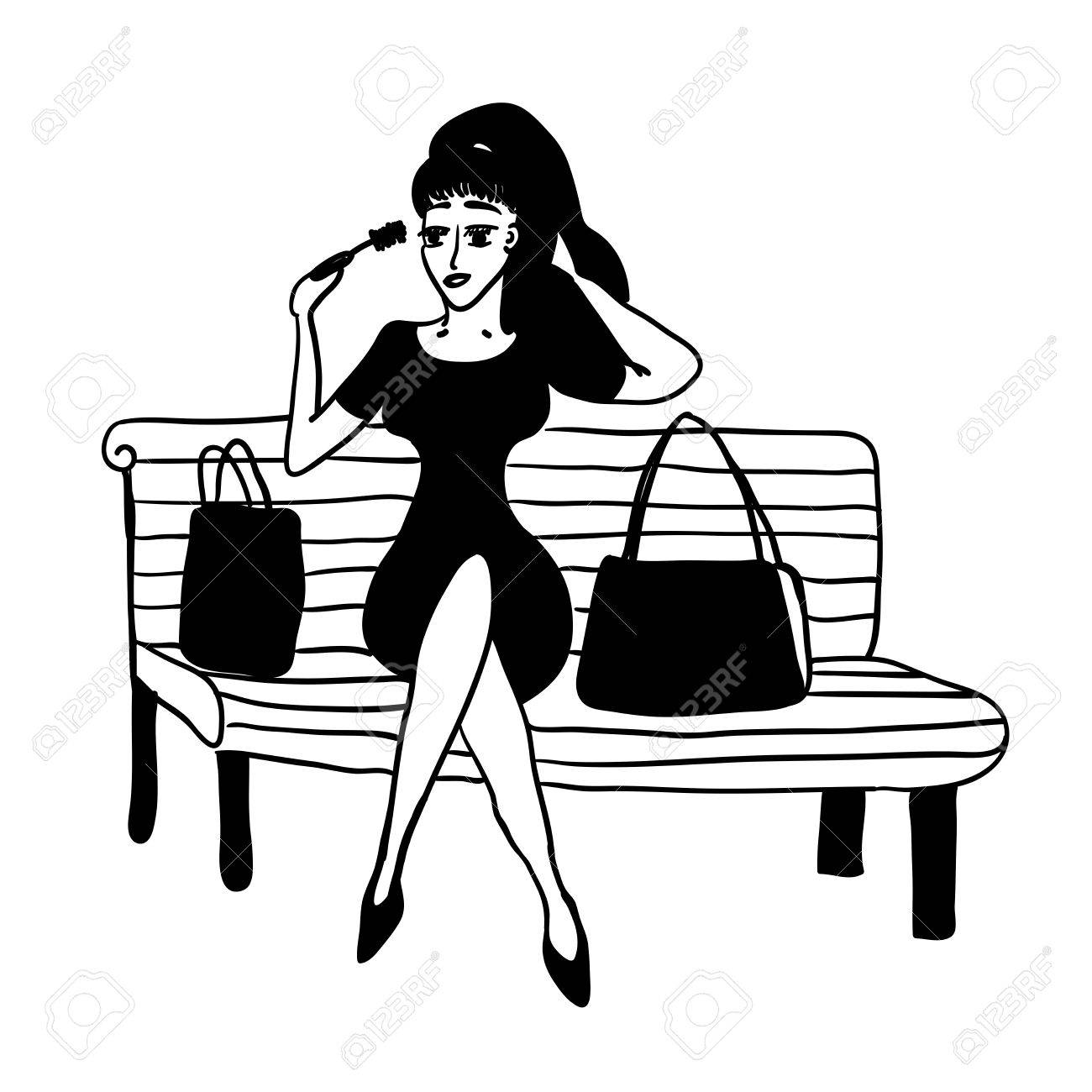 1300x1300 Girl After Shopping On A Park Bench Corrects Make Up Sketch Comic
