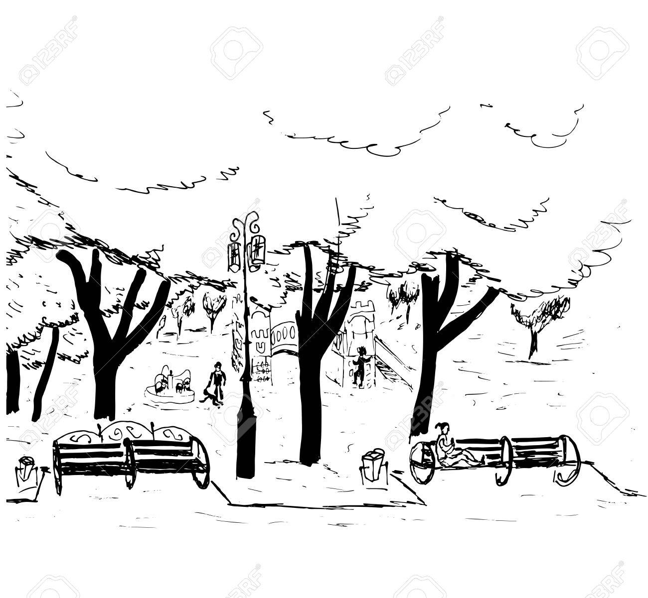 1300x1201 Hand Drawn Sketch Of The City Park With Trees, Benches, A Lantern