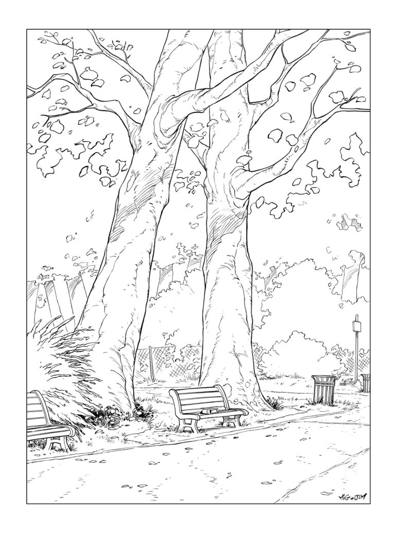 771x1036 Park Bench Coloring Pages Character Design