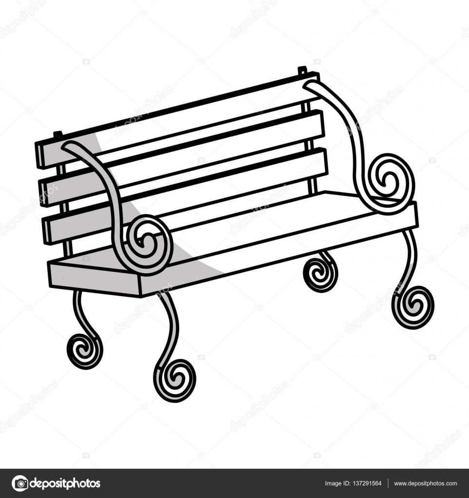 963x1024 Park Bench Drawing Beautiful Park Bench Icon Image Stock Vector