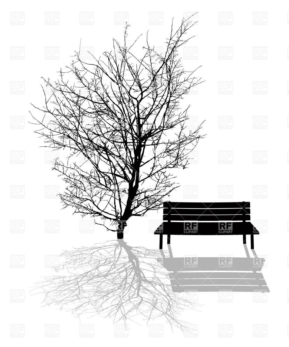 1000x1200 Park Bench Under The Tree Royalty Free Vector Clip Art Image