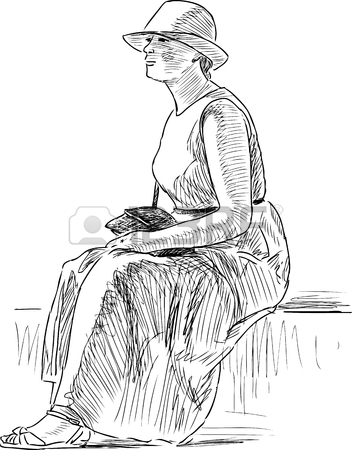 352x450 Sketch Of A Casual Woman On The Park Bench Royalty Free Cliparts