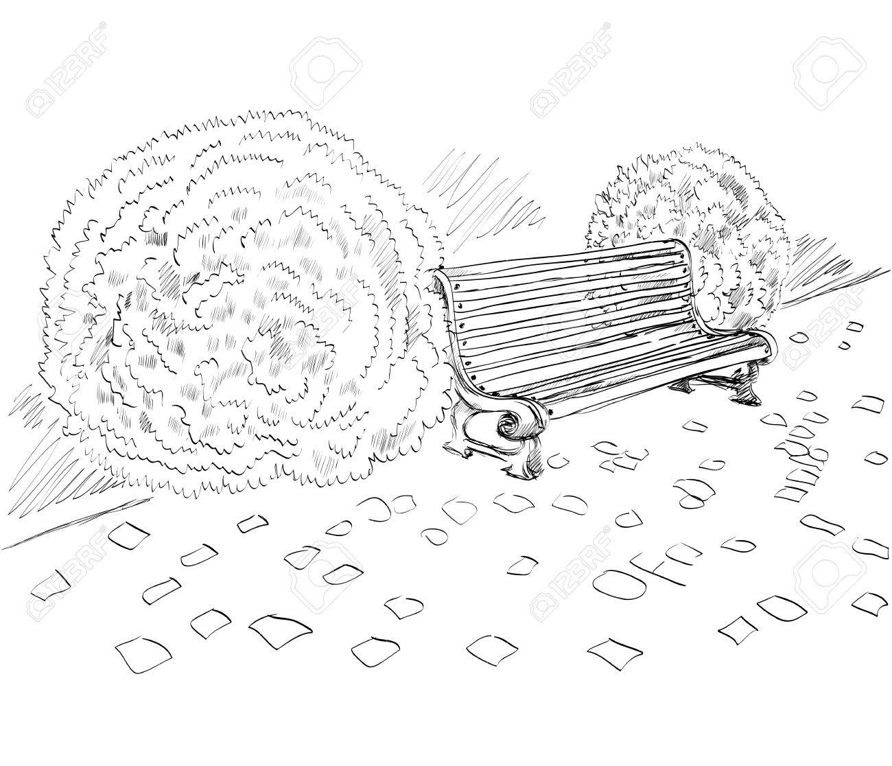 1300x1116 Sketch The Bench In A Park Near The Bushes Royalty Free Cliparts