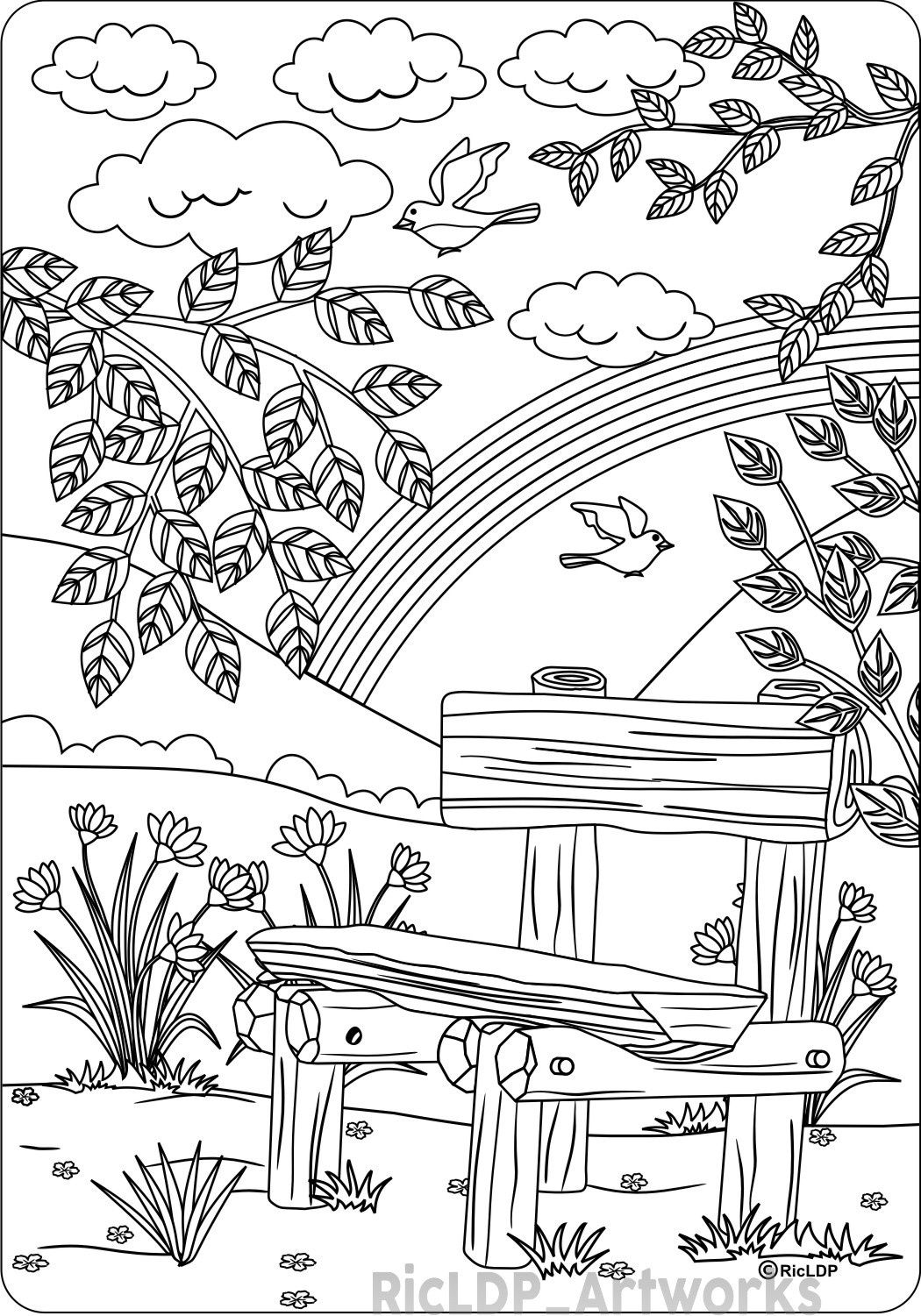 1050x1501 The Bench Coloring Page For Adults Coloring Pages