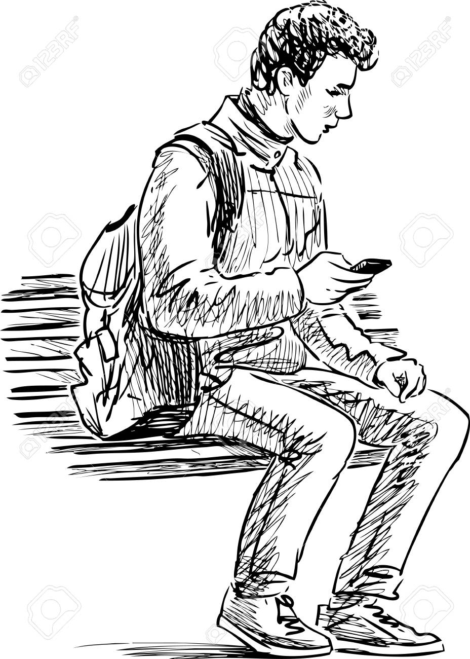 928x1300 Vector Sketch Of A Student With A Cell Phone Sitting On A Park
