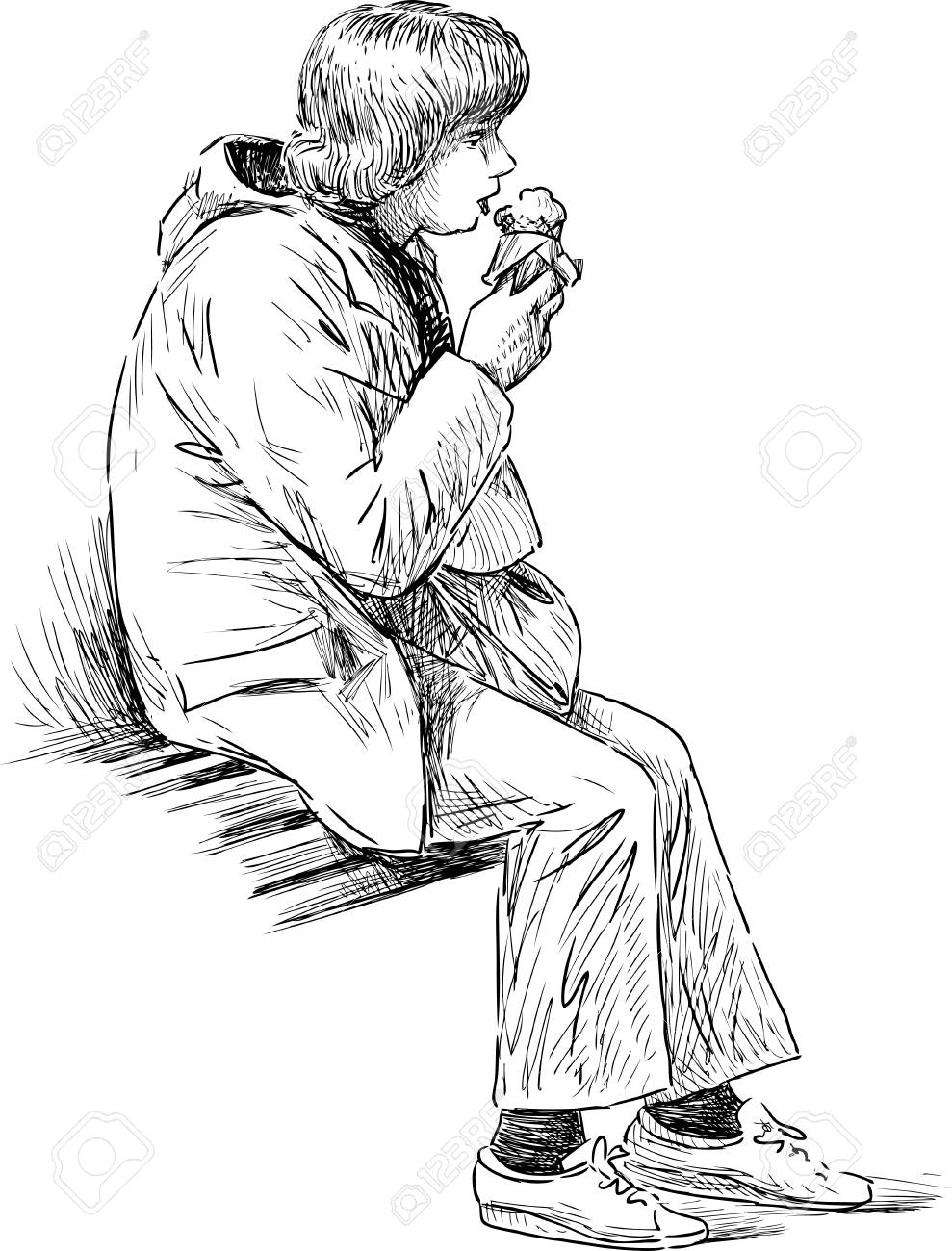 989x1300 A Woman Eating An Ice Cream On A Park Bench Royalty Free Cliparts