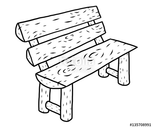 500x417 Wooden Bench Cartoon Vector And Illustration, Black And White