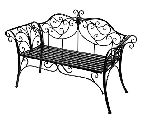 463x395 Hlc Black Outdoor Romance Two Seat Bench For Garden