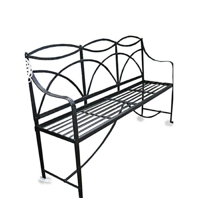 687x687 Bench Wrought Iron Park Benches White Backless Bench Backless
