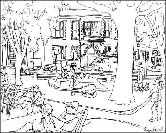 580x466 Drawing Board Harvard Square (Street Musician, Winthrop Park)