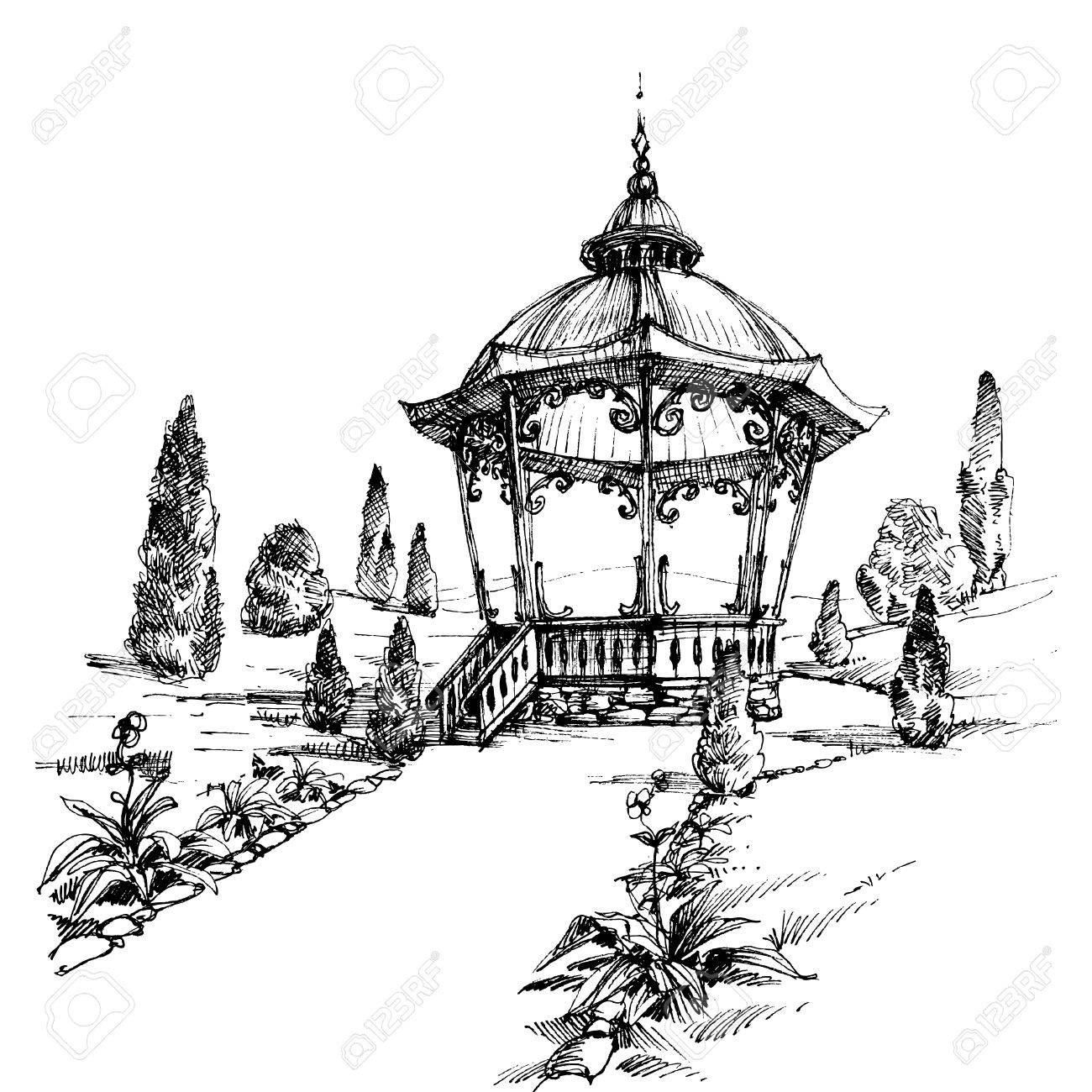 1300x1300 Gazebo In The Park Royalty Free Cliparts, Vectors, And Stock