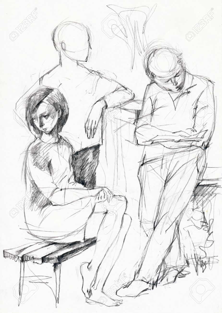 925x1300 Hand Made Picture, Peoples In The Park, Pencil Drawing Stock Photo