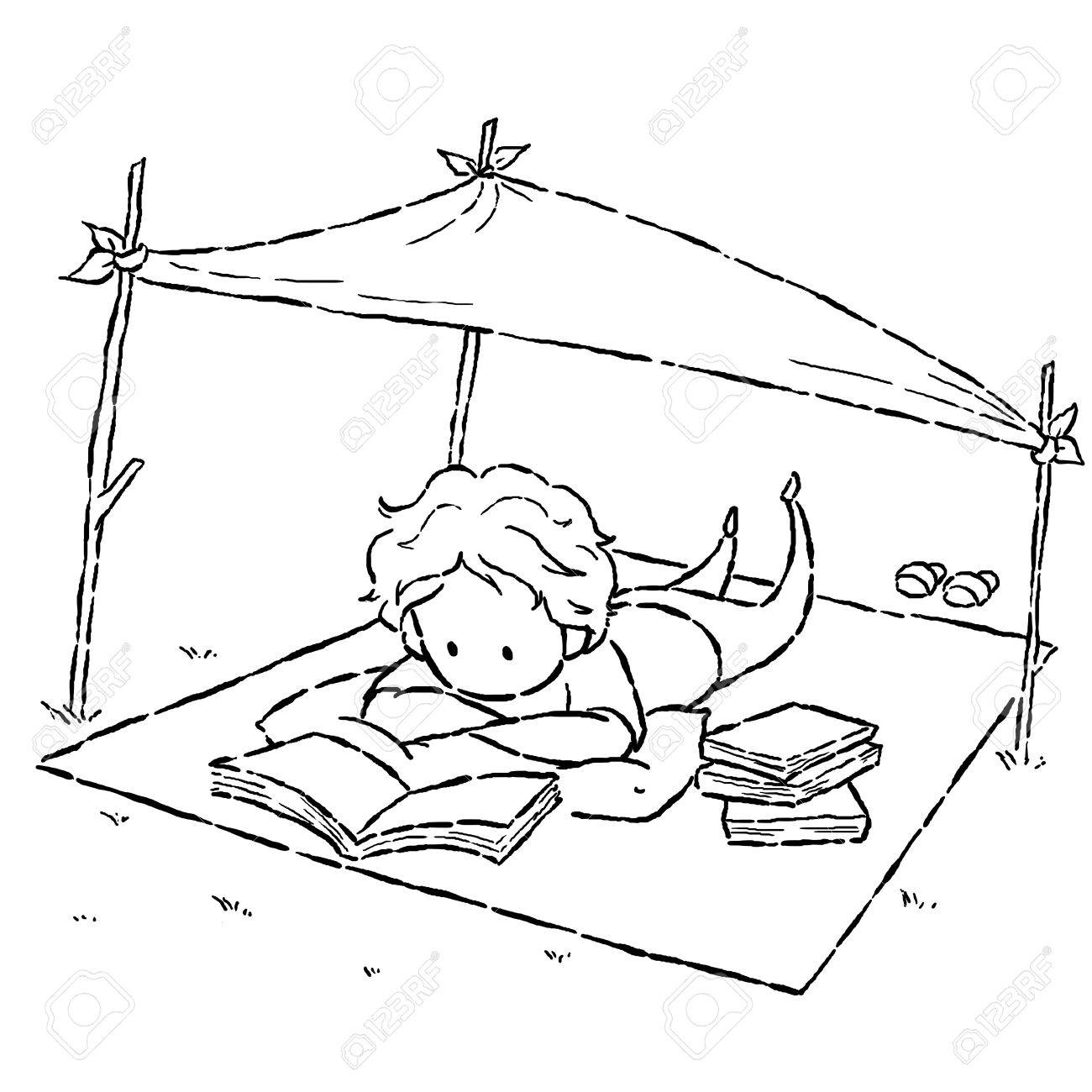 1300x1300 Image Drawing Cartoon Style Of Kid Reading Book In The Park Stock