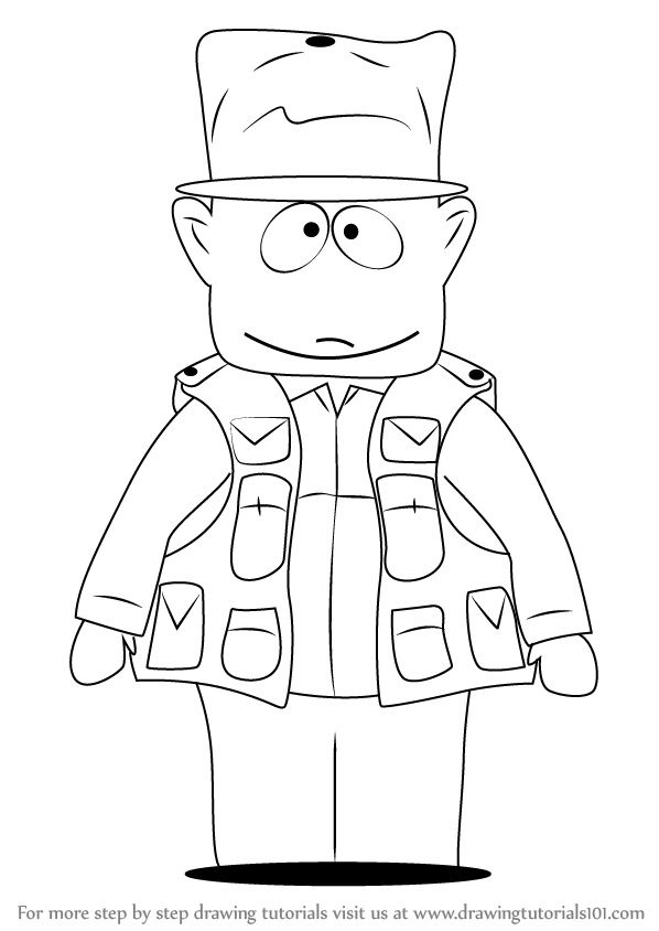 598x844 Learn How To Draw Jimbo Kern From South Park (South Park) Step By