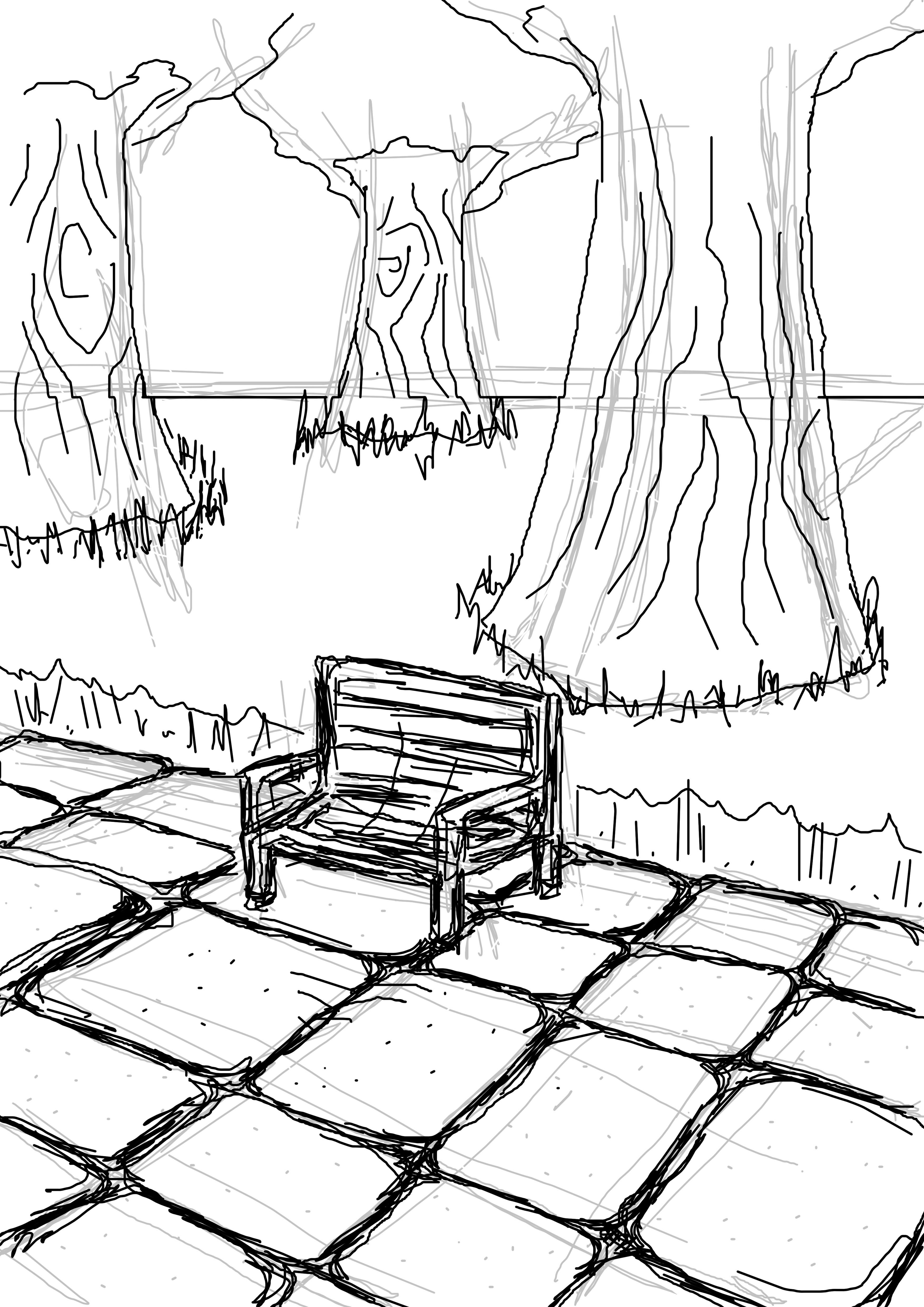 3508x4961 Sketch Of Park Scene Adamo Forster