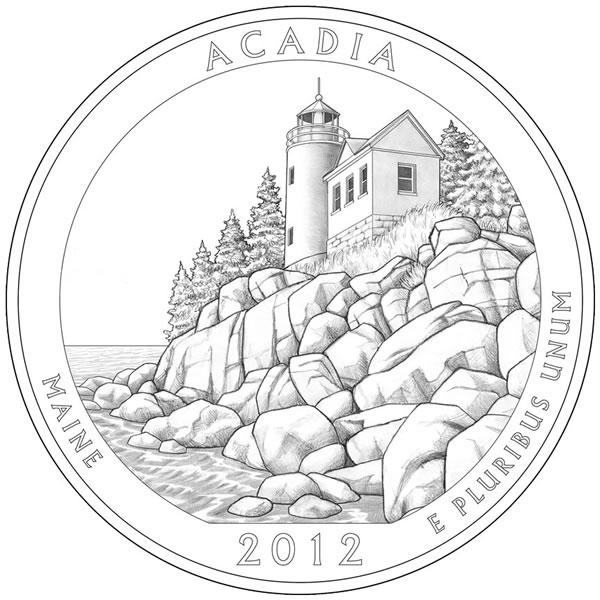 600x600 Acadia National Park Quarter Maine 2012 America The Beautiful