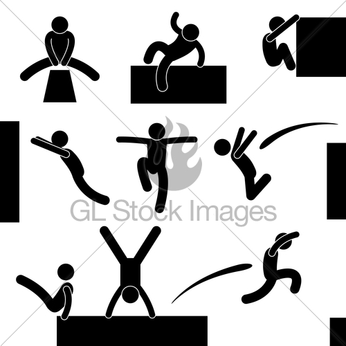 500x500 Parkour Man Jumping Climbing Leap Stick Figure Pictogram Gl