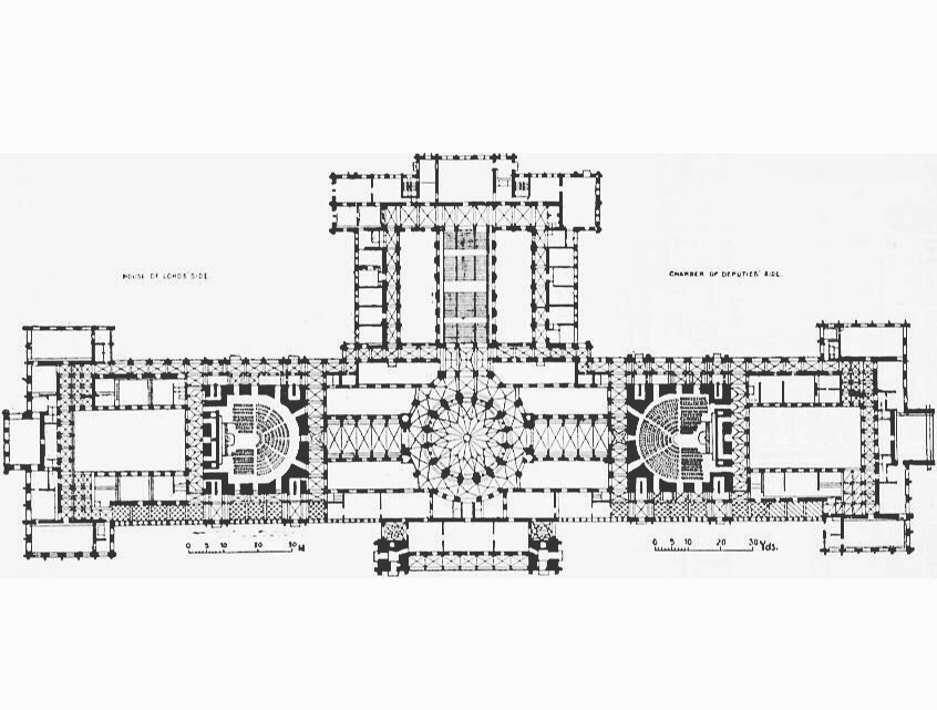846x641 Plan Of The Hungarian Parliament Building, Imre Steindl, Budapest