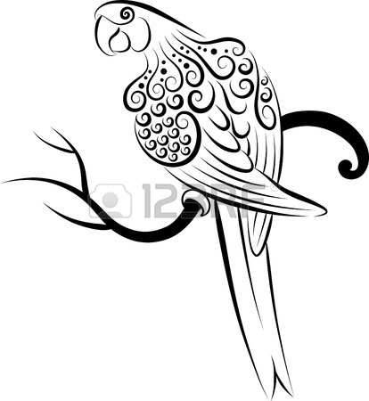 414x450 Owl Abstract Doodle Style. Bird Animal With Black Drawing Style